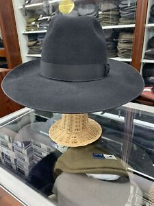 Alfonsino Men's Fur Felt Wide Brim Black Hat Size 7 3/8