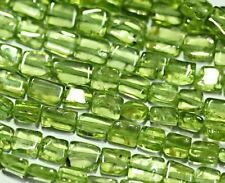 5 Strands Lot Natural Green Peridot Box Smooth Rectangle Beads 4mm 5mm 14""
