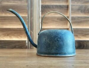 Vintage Metal Watering Can Brass Copper Curved Spout & Handle