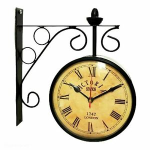 """6"""" Victoria Station Double Sided Railway Clock Functional Clock, Classic E678"""