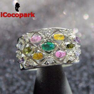 Topaz Citrine Peridot Sapphire 925 Sterling Silver Ring Valentine's Day Gift