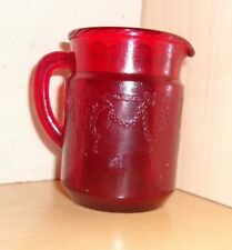 """Ruby red 3"""" miniature glass pitcher with Cameo Ballerina-style pattern"""