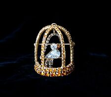 New Vintage Bauer Jewelry 3D Birdcage Swinging Brooche Pin Swarovski Rhinestones