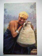 Egyptian Girl & Water Bowl Old Postcard Raphael Tuck Oilette Egypt The Sphinx