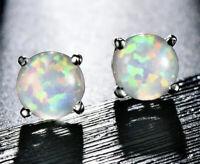 Opal Weiss Ohrringe Ohrstecker 925er Sterling Silber Silver Earrings Studs
