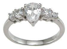 1.0 ct Designer Pear Engagement Ring Sterling Silver Platinum Fn Size 7