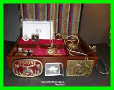 Lot Of Rare FreeMasonic Shriners Items Belt Buckles, Bolos, Pins & More! w/ Box