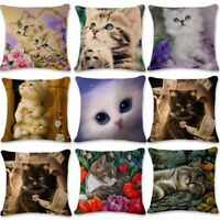 New Home Decor Beauty Cat Linen Pillowcase Bedding Throw Cushion Pillow Cover