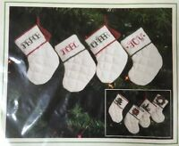 """4 Miniature 4"""" Quilted Stockings Kit Sunset Stitchery # 2164 NEW vintage 1985"""