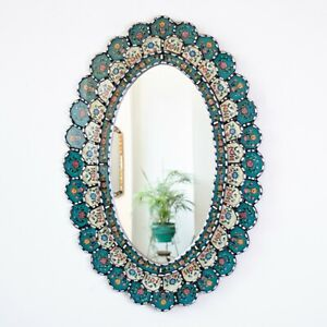 """Peruvian Oval Turquoise Mirror for wall, """"Celestial Flower""""- Silver Accent oval"""