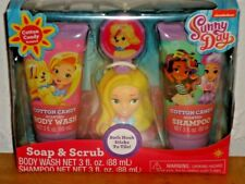 Sunny Day Soap & Scrub 4 Piece Bath Set Cotton Candy Scented Body Wash Shampoo