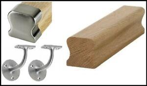 Wall THR Handrail Oak & Brushed Fittings Handrail Kit Quality Uk Manufactured!