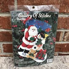 "Bucilla Santa & Snowman 15"" Diagonal Felt Stocking Kit #33391 NEW 1994"