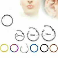 1x Hinged Segment Hoop Surgical Steel Septum Labret Nose Ring Cartilage Earring