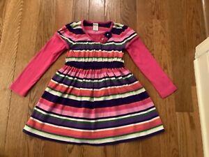 GYMBOREE GIRLS SZ 6 Double Sleeve Cotton Stripe Dress w/ Floral Apliques
