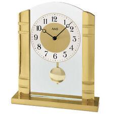 NEU AMS Tischuhr Pendeluhr Aluminium gold Glas Büro Business Schreibtisch Kamin
