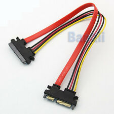 Male to Female Serial ATA SATA 22Pin Data Power Extension Cable adaptateur HG