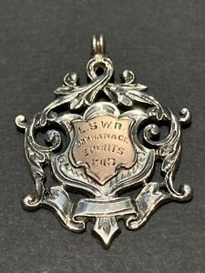 English Solid Silver & Rose Gold Shield Watch Fob Medal, 1917