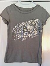 ARMANI Exchange Women's Short Sleeved T-Shirt / Top - Grey Silver print size XS