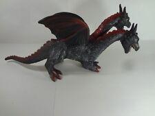 "2 Headed Dragon Soft Foam Rubber Large Figure Black Red 2005 Toy Major  18"""