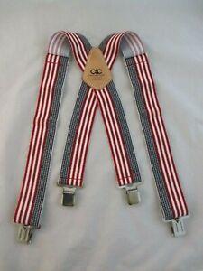 Custom LeatherCraft Top Grain Cowhide Patriotic Suspenders ~ Red, White and Blue
