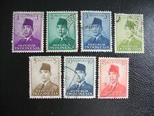 Indonesia 1951 Scott 113-119 President Sukarno. Used Set of 7