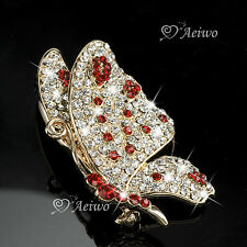18K YELLOW GOLD GP MADE WITH SWAROVSKI CRYSTAL BUTTERFLY BROOCH ELEGANT