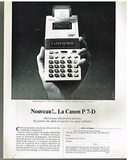 Publicité Advertising 1980 la calculatrice Canon P7-D