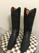 BLACK LUCCHESE TRAIL BOSS COWBOY BOOTS 7 C
