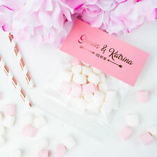 x25 Foil Personalised Wedding Favours | Mini Pink & White Halal Marshmallows.