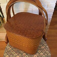 Vintage Burlington Square Hawkeye Woven Lid Picnic Basket with divider