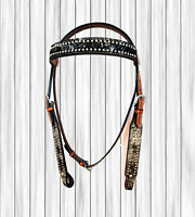USED HEADSTALL SHOW WESTERN BLING HORSE BRIDLE TRAIL PLEASURE BARREL RACING TACK