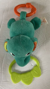 Bright Starts Teal Elephant Plush Baby Rattle Stroller Car Seat Carrier Pal Toy
