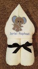 Personalized Boy Elephant Hooded Towel