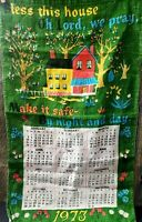 Vintage 1973 Tea Towel Calendar Wall Hanging DISH Coffee Tole BLESS THIS HOUSE