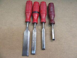 4 Beitel Holzbeitel  BAHCO Schweden + Kirschen altes Werkzeug