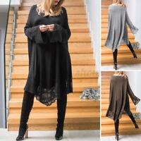 Women Long Flare Sleeve Lace Patchwork Kaftan Dresses Midi Shirt Dress Plus Size