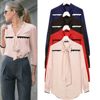 Casual Women's  Chiffon Long Sleeve V-Neck Loose Shirts Tops Tee Blouse T-Shirts