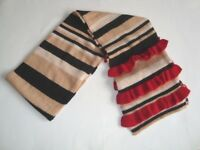 Ladies Warm Winter Cosy Wool Mix Stripe Ruffle Scarf  (2209)