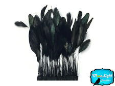 1 Yard - BLACK Stripped Coque Tail Feathers Wholesale (bulk)