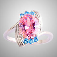 Enchanting Oval Cut Pink & Blue Topaz Gemstone Silver Ring Size 6 7 8 9 10 11 12