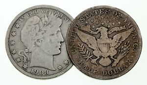 Lot of 2 Barber Half Dollars 1906-S and 1908-S in Very Good VG Condition