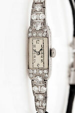 Antique 1920s $6000 2.50ct VS G Old Euro Diamond Platinum Ladies Watch WARRANTY