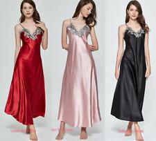 Womens Sexy Silk Satin Pajamas Nightwear Nightgown Pyjamas Sleepwear Long Robe