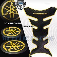 "BLACK+CHROME GOLD PRO GRIP FUEL TANK PAD+2""YAMAHA 3D LOGO FAIRING EMBLEM STICKER"
