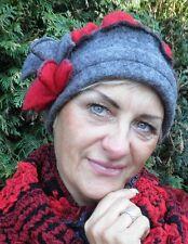 Gorro Mujer de lana MC Burn Gris Rojo Sombrero Para Dama Ocasión Winter