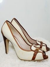 Salvatore Ferragamo Peep Toe Canvas Leather Ivory Loafer Gold Buckle 4 In Heels