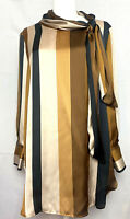 Zara Basics Long Sleeve Tunic Blouse w Tie Neck - NWT - Gold, Brown & Ivory