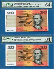 Australia 20 Dollars,AAA Edition,#4612 & 4613. 1993, UNC-PMG64EPQ, P46i R415