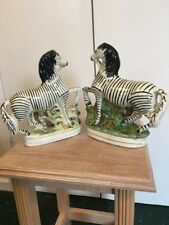Staffordshire Flat back Zebras Pair of Early 19th Century made from Horse Moulds